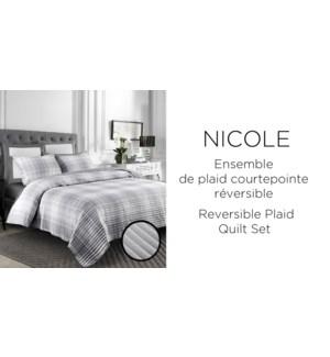 NICOLE REV.PLAID 3 pc-Gris-F/Q-QUILT SET