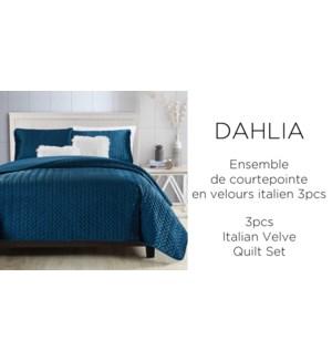DAHLIA 3 pc ITALIA velvet- Gris-K 106X90-QUILT SET