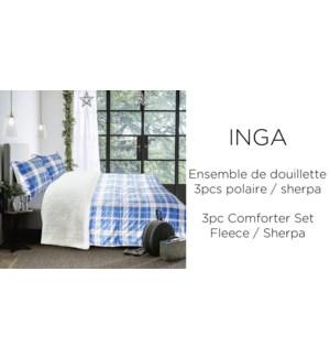 INGA 3 pc fleece/sherpa-blue plaid mink-F/Q88X88-Ens.Doui