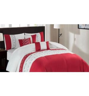 ANASTASIA  6 pc embroidered comforter set K 108x90 RED