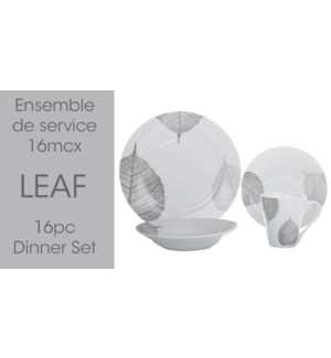 16PC LEAF ENSEMBLE SERVICE DE TABLE ROND 2B