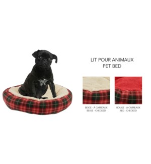 ROUND PET BED ASST. 53X53X10CM 14/B