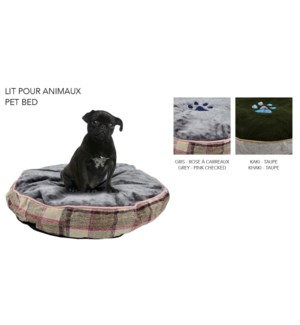 ROUND PET BED ASST. 60X60X12CM 8/B