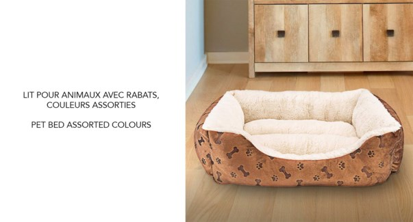 "PET BED ASSORTED COLOURS 22X17X7"" 8/B"