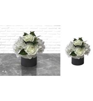 Tissu Pot en c'ramique avec fleurs blanches 21x24 - 6B