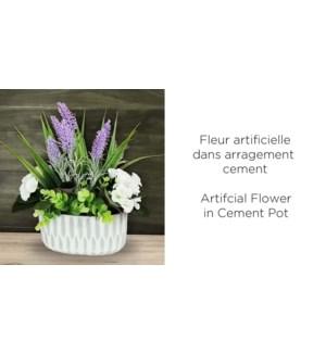 Fleur Artificielle Ciment Arrangemnet Gris 18x11x30 - 8B