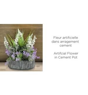 Arrangement de fleurs artificielles Ciment Noir - 20x10x28 -