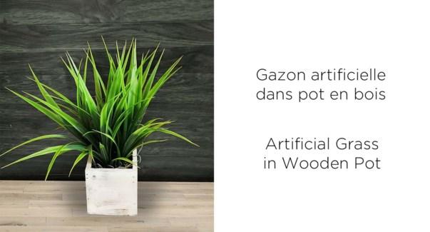 Pot de bois … gazon artificiel - 9x9x29-8B