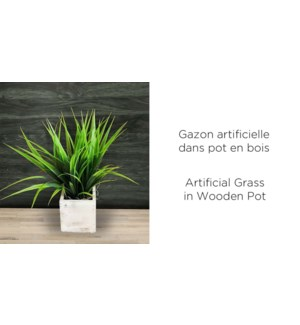 Pot de bois … gazon artificiel - 9x9x29-8B