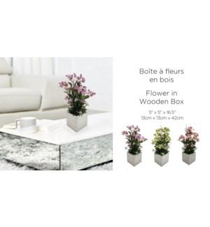 BoŒte … fleurs en bois blanche 13x13x42-8B