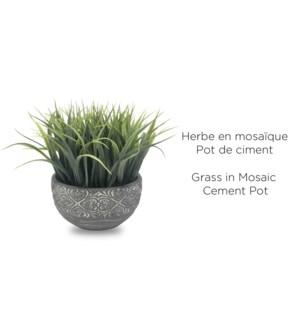 Herbe en pot de ciment mosa‹que - 16,5x20 - 8B