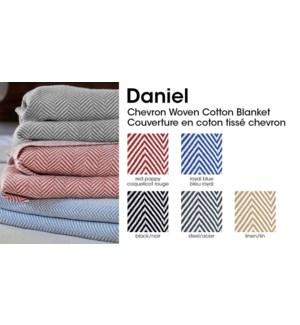 DANIEL COUVERTURE EN COTON TISS CHEVRON LIN SIMPLE 2/B