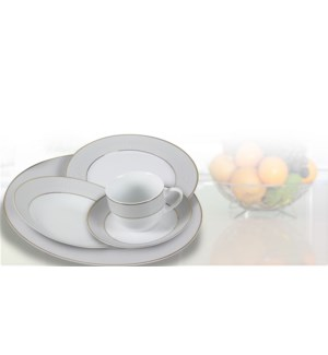 Ensemble de Vaisselle 20pc Grand Hotel Or Rond Blanc