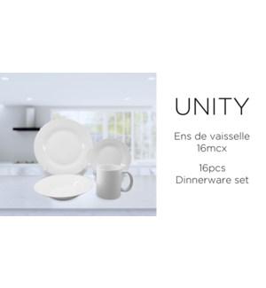 DINNERWARE SET 16PC WHITE UNITY