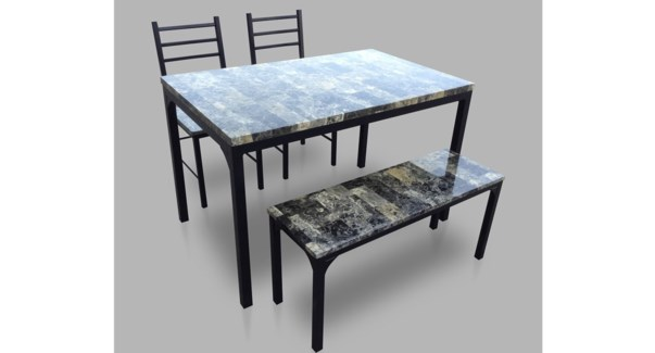 4PC Marble pvc dinner set w bench+2chairs dkGry:01 1 per ctn