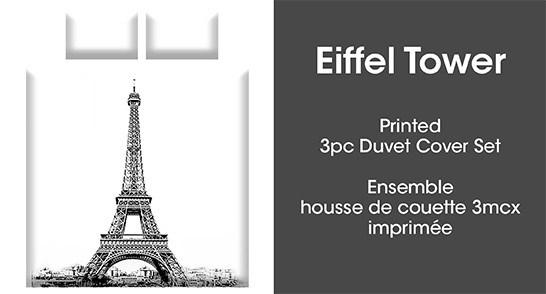 EIFFEL TOWER 2PC ENS HOUSSE DE COUETTE gris SIMPL