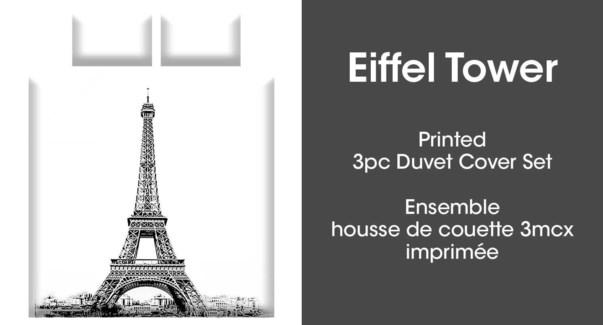 EIFFEL TOWER 3PC ENS HOUSSE DE COUETTE gris GRAND 2B