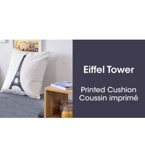 EIFFEL TOWER COUSSIN BLANC/NOIR 18X18 6B