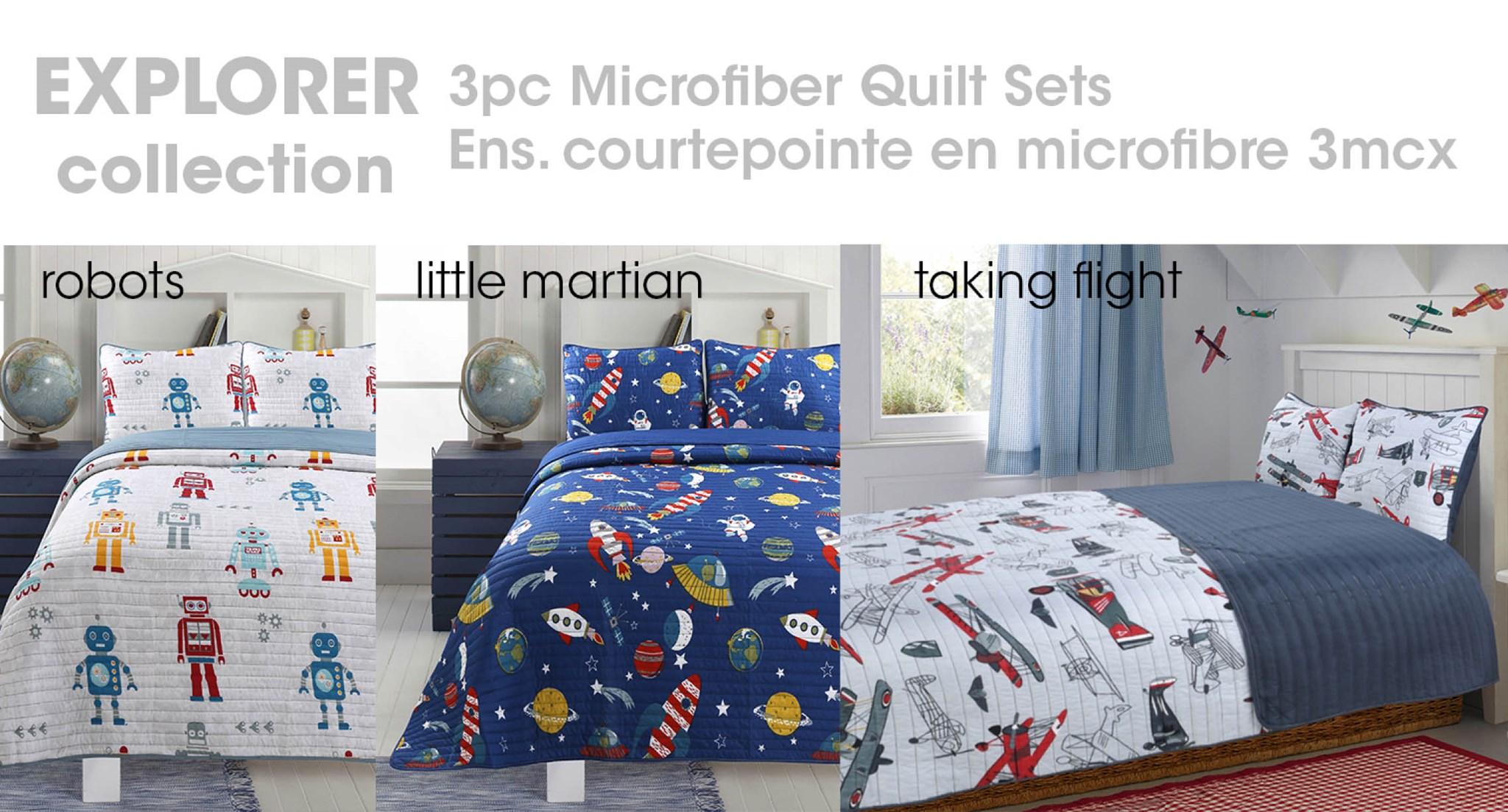Little Adrien Explorer Collection 3pc Microfiber Quilt Set