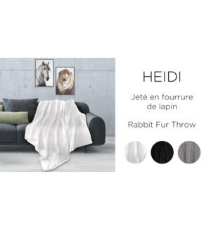 HEIDI rabbit fur throw ASST 50x60 12B
