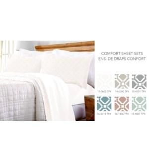 Draps confort avec taie d'oreiller & bordure imprime geo F
