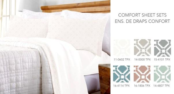 Draps confort avec taie d'oreiller & bordure imprime geo Q