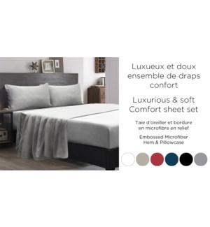 Draps confort taie d'oreiller & bordure dobby noir S 2B