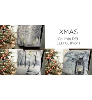 Winter scene LED cushions 18x18 ASST. 12/B