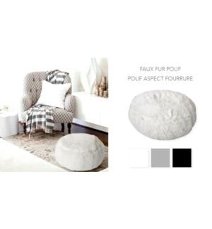 Faux Fur Pouf Dia 53xH23cm White 2b