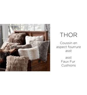 THOR faux fur cushion 20X20 ASSORTED 6/B
