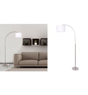LAMPE DE PLANCHER DE BRAS D'ARC DE MTAL NICKEL 30x100x190cm