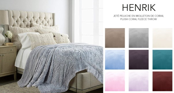 HENRIK plush coral fleece Throw Sld 50x60 12/b