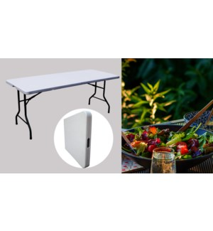 4 FT FOLDING IN HALF TABLE, ADJUSTABLE HEIGHT, L122*W60*H74