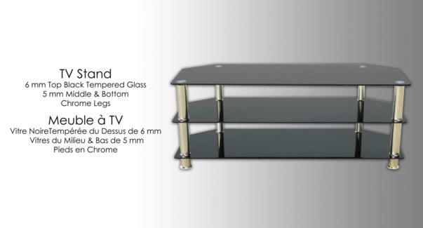 Gls Furn Blk Tv Stand   112310