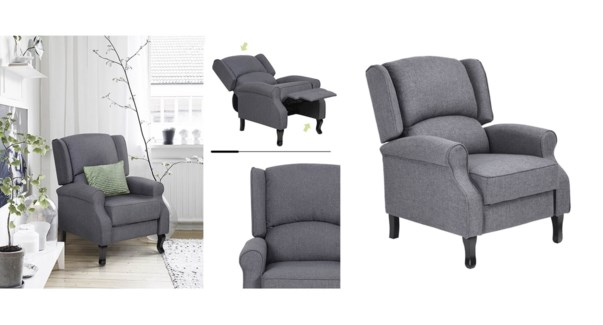 ARBUTHNOT FAUTEUIL INCLINABLE GRIS 78x93.5x10CM 1B