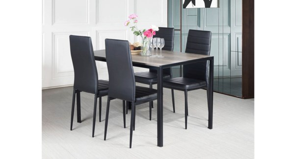 VARGAS AND ANN 5PCS DINING SET  GREY WOOD STAIN 1/2 CTN