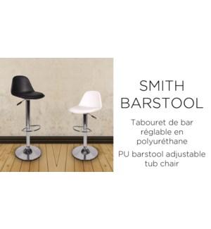 SMITH BARSTOOL BLACK  PU 39.5X44X82-104CM