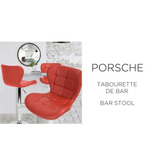 PORSCHE RED  PU BARSTOOL WITH ADJUSTABLE HEIGHT