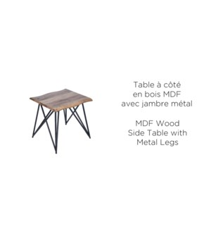WOOD MDF SIDE TABLE WITH METAL LEGS 50X50X50CM