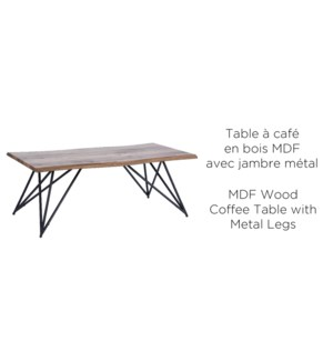 WOOD MDF COFFEE TABLE WITH METAL LEGS  120X60X45CM