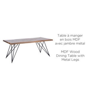 WOOD MDF DINING TABLE WITH METAL LEGS  180X90X75CM