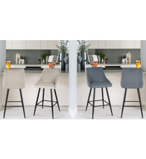GREY VELVET BARSTOOL WITH BLACK METAL COATING FRAME 2/b