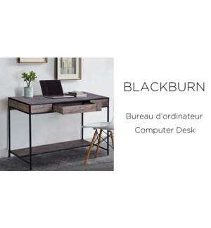 BLACKBURN COMPUTER/OFFICE DESK -METAL FRAME DARK BRWON TOP