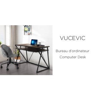 VUCEVIC COMPUTER/OFFICE DESK - METAL FRAME DARK WOOD MDFTOP