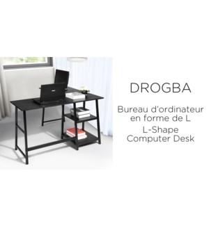 DROGBA BLACK  L-SHALE OFFICE DESK W/SHELVES
