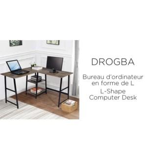 DROGBA DARK BROEN  L-SHALE OFFICE DESK W/SHELVES