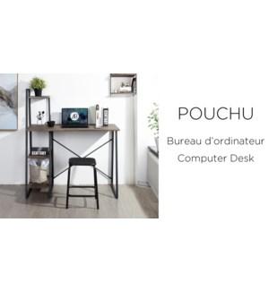 POUCHU DARK BROWN COMPUTER/OFFICE DESK-METAL FRAME