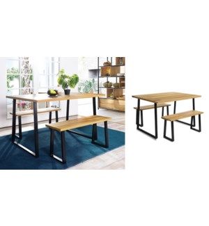 CAULY 3 PC DINING SET -INCLUDES TABLE AND 2 BENCHES
