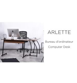 ARLETTE WALNUT  L-SHAPE COMPUTER/OFFICE DESK WITH METAL FRAM