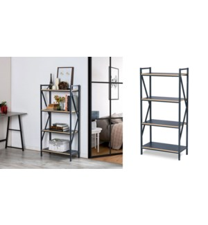 STARK ACCENT 4-TIER  SHELF UNIT METAL FRAME AND GREY BOARD